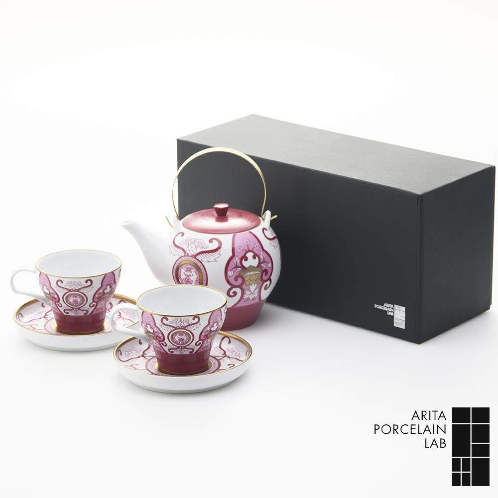 ARITA PORCELAIN LAB ティーポット 1 カップ&ソーサー 2 JA古伊万里草花紋 化粧箱 有田焼 B07PPT367N