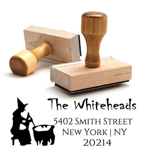 Traditional Wooden Handle Stamp Halloween Witch Return Address Mail Stamper Custom Personalized Address Large 4 Lines Professional Wedding Gift Invitation Branding ()