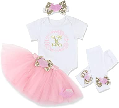 3Pcs Newborn Infant Baby Girl Outfits My 1st Easter Short Sleeve Romper Tutu Skirt with Headband Sets