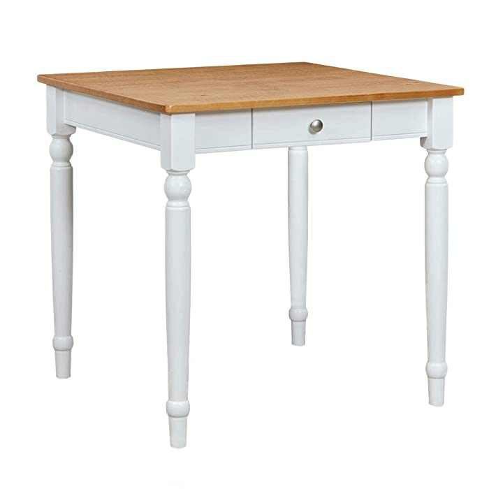 "Ravenna Home Traditional Dining Table 29""H, White and Rustic Honey Pine"