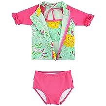 RuffleButts Infant / Toddler Girls Floral Zip-Up Rash Guard Bikini 3-pc Set