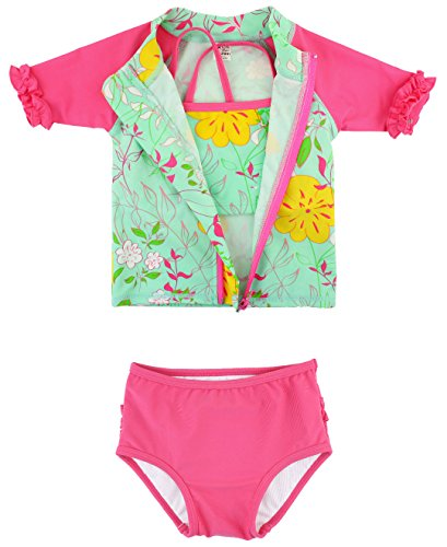 RuffleButts Little Girls Floral Zip-Up Rash Guard Bikini 3-pc Set - Serenity - 2T