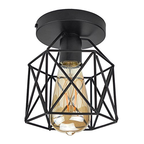 Lysed Semi-Flush Mount Ceiling Light E26/27 Edison Bulb Industrial Vintage Style Black Painting Finish for Hallway Study Room Office Bedroom Decoration Vanity Lights Hanging Light Fixture by Lysed
