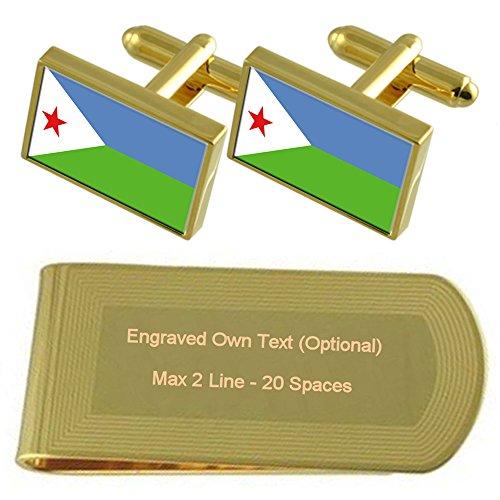 Clip Set Engraved Gold Money Gift Flag tone Djibouti Cufflinks wgqnX