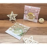 Yunko 200pcs Christmas Snowflake Cookie Packaging Self-adhesive Bags for Biscuits Package Good for Bakery Party Pink and Glod