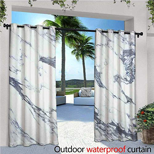 (cobeDecor Marble Balcony Curtains Antique Marble Textured Ocean Style Organic Granite Rock Formation Art Print Outdoor Patio Curtains Waterproof with Grommets W84 x L96 Cadet Blue White)