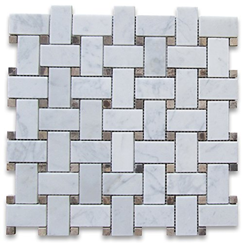 Brown Mosaic Tile Flooring - Carrara White Italian Carrera Marble Basketweave Mosaic Tile Emperador Dark Dots 1 x 2 Honed