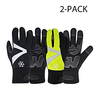 Vgo Glove High Dexterity Touchscreen Synthetic Leather Winter Warm Work Gloves,C100 Thinsulate, Waterproof Insert (2Pairs,Black,Fluorescent Green,Size Size XS-XXL)