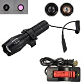 WindFire® High Power Infrared IR Illuminating Light Focus Adjustable Flashlight, Great for Night Vision Coyote Hog Predator Hunting, with Pressure Switch, Rail Rifle Mount, 18650 Battery and Charger