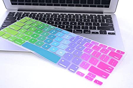 MacBook Pro 13 15 with Retina Display HQF Multi-Color Keyboard Skin Multi-Color Silicone Rubber Keyboard Cover Skin Stickers Protector for MacBook Air 13