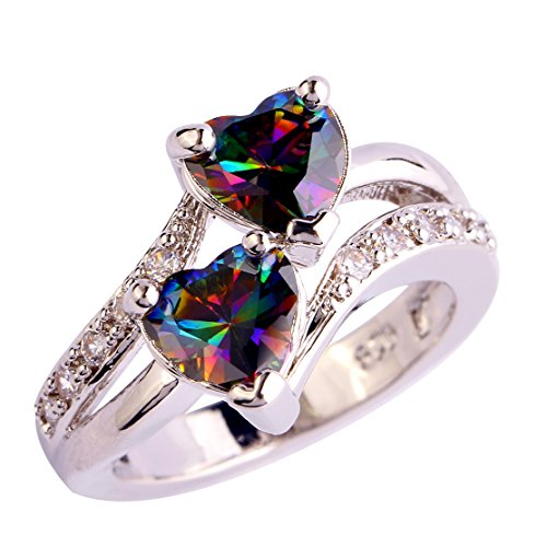 (Emsione Vintage 925 Sterling Silver Plated CZ Double Heart Created Sapphire & Topaz Love Wedding Promise Ring)
