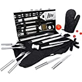Albessel 33 Pieces Professional BBQ Grill Tool Set with Aluminium Case - Heavy Duty Stainless Steel Barbecue Accessories - Outdoor Camping Utensils Kit with Glove and Apron