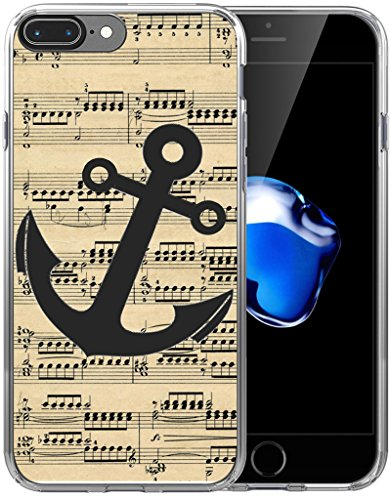 Case for iPhone 7 Plus Anchor Design/Case for iPhone 8 Plus/IWONE Designer Non Slip Rubber Durable Protective Skin Transparent Cover Compatible for iPhone 7/8 Plus + Anchor Print Pattern Vintage