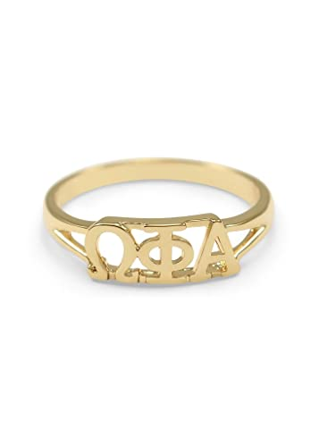 Amazoncom Omega Phi Alpha 14k Gold Plated Sorority Ring with Greek