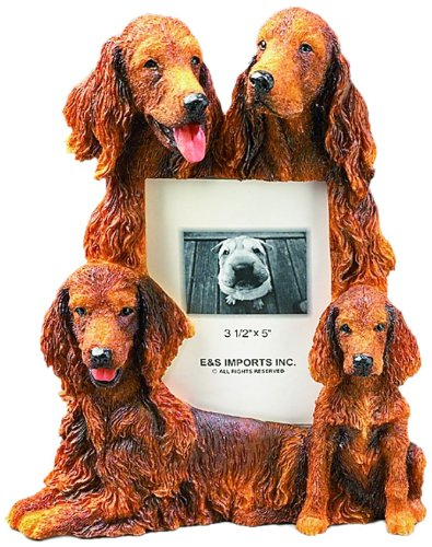 (Irish Setter Gift Picture Frame Holds Your Favorite 3x5 Inch Photo, A Hand Painted Realistic Looking Irish Setter Family Surrounding Your Photo. This Beautifully Crafted Frame is A Unique Accent to Any Home or Office. The Irish Setter Picture Frame Is The Perfect Gift For Irish Setter Owners And Lovers! )