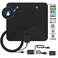 HDTV Antenna, TV Antenna For Digital TV Indoor 4K High-Definition, 50-85 Miles Long Range Digital Antenna for HD TV, 10Ft Coax Cable With Detachable Amplifier, 1080P Indoor TV Antenna with USB Adapt