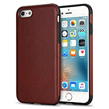 TENDLIN iPhone 6s Case Leather Back Flexible TPU Silicone Hybrid Slim Cover Case for iPhone 6 and iPhone 6s (Brown)