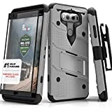 Zizo Bolt Series compatilbe with LG V20 Case Military Grade Drop Tested with Tempered Glass Screen Protector, Holster, Kickstand Gray Black