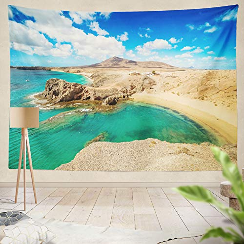 Summor Tapestry Beach Beach Desert Landscape Spain Beautiful Blue Coast Hill Mountain Nature Ocean People Hanging Tapestries 60 x 80 inch Wall Hanging Decor for Bedroom Livingroom Dorm