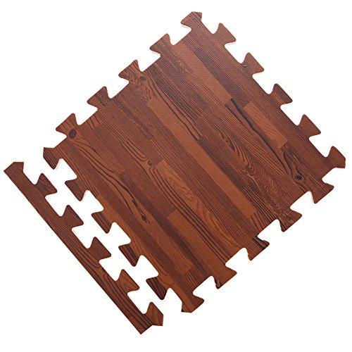 Ocamo Alfombra de Espuma de Grano de Madera para Bebé gateando Puzzle,Juego arrastrándose,6 Piezas/Juego,30x30x1cm