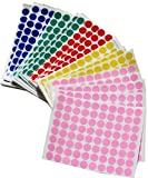 Color Coding Dot Stickers 1/2 Inch - 1200 Per Color Adhesive Dots Sticker, Blue, Green, Pink, Red, and Yellow 6000 PACK by Royal Green