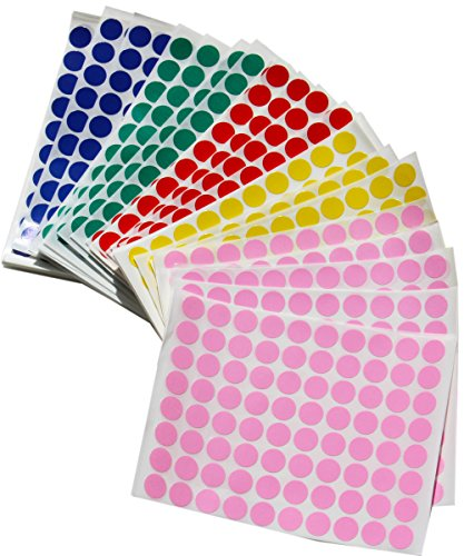 Color Coding Dot Stickers 1/2 Inch - 1200 Per Color Adhesive Dots Sticker, Blue, Green, Pink, Red, and Yellow 6000 PACK by Royal Green by Royal Green