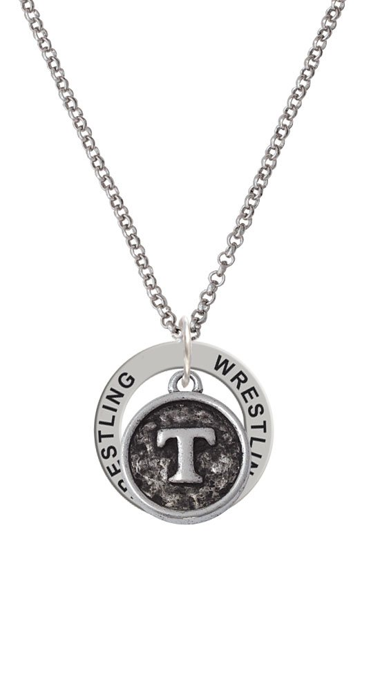 Antiqued Round Seal - Initial - T - Wrestling Affirmation Ring Necklace