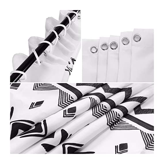 Uphome Fabric Shower Curtain Black and White Geometric Pattern Cloth Shower Curtain Set with Hooks Chic Boho Bathroom Decor,Heavy Duty Waterproof, 72x72 - [Uphome Design] -This polyester shower curtains made of 100% fabric adds extra rust-resistant metal grommets and 12 high-quality plastic hooks Without the ROD, features with geometric pattern, which can blend with any existing home decor. [Function] Waterproof and heavy-duty, can be used as shower curtain alone, when you take shower the curtain which can prevent it from fluttering, splashing. [Care Instructions] Machine washable in cold water with mild detergent and hang to dry. It could be better cleaned with a quick rinse or wipe after a shower, Low iron; Don't bleach or tumble dry. The Color will stay nice and vibrant for years. - shower-curtains, bathroom-linens, bathroom - 51MgZl3A4xL. SS570  -