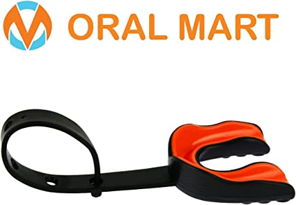 Oral Mart Black/Orange Sports Mouth Guard with Strap (Ice Hockey/Football/Lacrosse) - Strapped Mouthguard for Football, Hockey, Lacrosse, College Football (with Free Case)