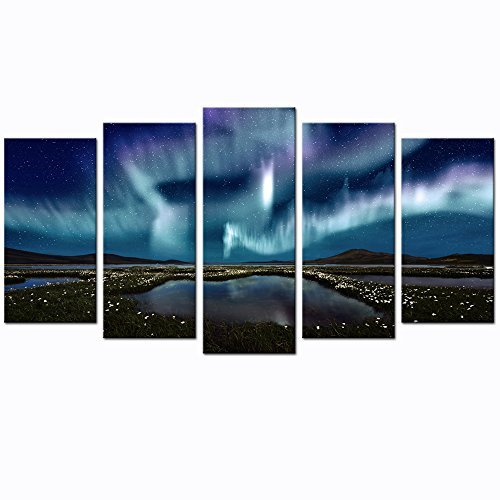 Sea Charm - 5 Panel Wall Art Northern Lights over The Marsh Landscape Canvas Wall Art Aurora Borealis Artwork Framed Modern Home Living Room Decor