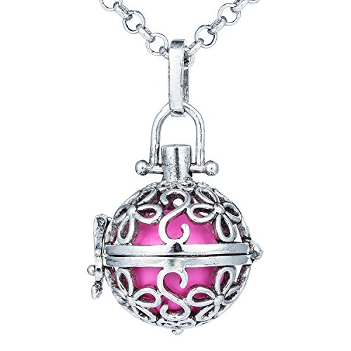 Bonnie Charm Flower Music Chime Pregnancy Filigree Hollow Angel Caller Ball Pendant ()
