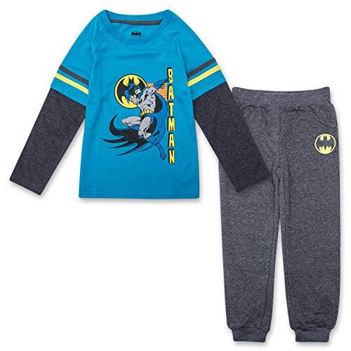 Toddler Boys Batman Jogger Set - Batman Long Sleeve Shirt & Sweatpants Set (Blue/Grey, 2T)