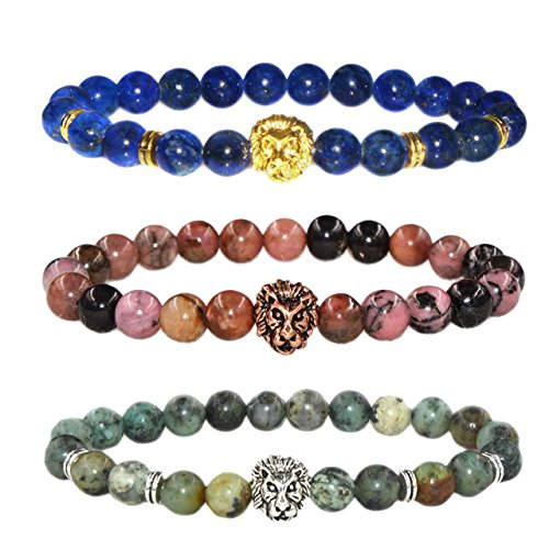 MIKINI Jewelry Black Matte Agate Natural Onyx Stone Dragon Veins Agate Mens Womens Bracelets, Alloy Lion Head (Dyed Lapis/ African Turquoise/ Rhodonite)