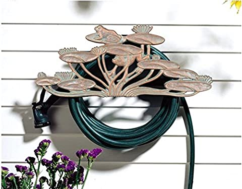 Hose Reel. Wall Mount, Garden Hose Holder, Prevents Entanglement And Kink, Decorative, Functional And Discreet, Neatly Organized Above Ground, Aluminum, Copper Verdi, Perfect For Garden, Yard, - Frog Garden Hose Holder