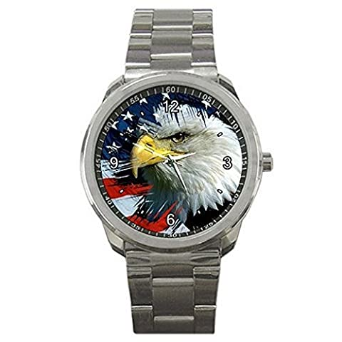 Fathers Day, American Eagle and Flag on a Mens or Womens Silver Sports Watch (Citizen Flag Band)