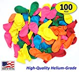 Pack of 100, Assorted Bright Color Latex Balloons, Made in USA!