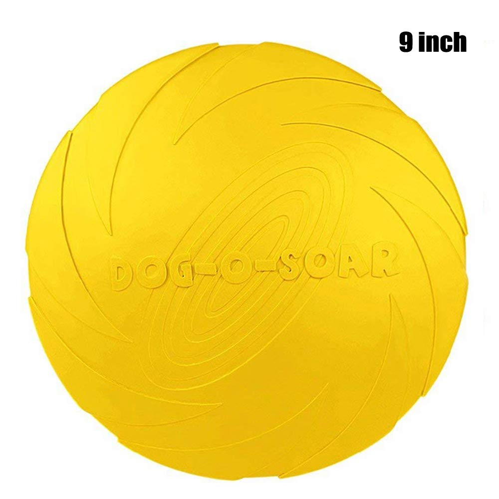 Dog Flying Disc Frisbee Toy for Large Dog - Floating Water Dog Toy - Yellow Flying Saucer Interactive Toys- Heavy Duty Rubber Dog Flyer for Outdoor Flight