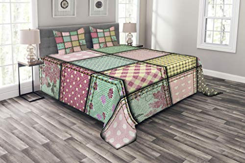 Ambesonne Shabby Flora Bedspread, Vintage Style Patchwork Design Colorful and Details Vibes, Decorative Quilted 3 Piece Coverlet Set with 2 Pillow Shams, King Size, Seafoam Blush