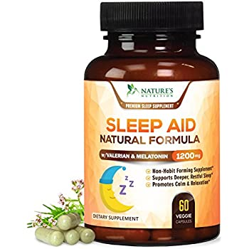 Natural Sleep Aid Extra Strength Herbal Sleeping Pills with Melatonin, Valerian, Inositol & Chamomile - Natural Stress, Anxiety & Insomnia Relief, ...