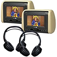 (2) 7 DVD Headrest Monitor Systems with (2) Headphones