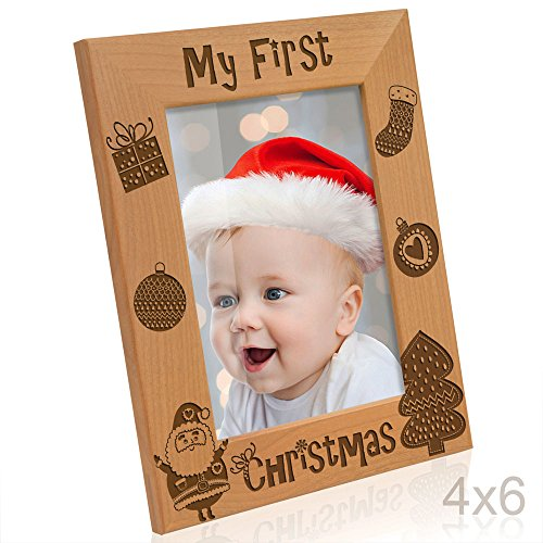 - Kate Posh My 1st Christmas Picture Frame, My First, Baby's 1st Christmas, New Baby, Santa & Me Engraved Natural Wood Photo Frame (4x6-Vertical - Vintage)
