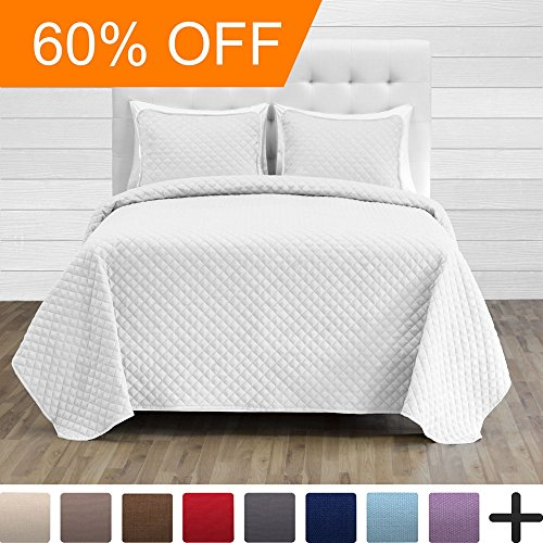 Premium Diamond Stitched 3 Piece Coverlet Set - Ultra-Soft Luxurious Lightweight All Season Bedspread (Full/Queen, White)