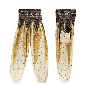 "Lanhui Women Men Thai Harem Trousers Boho Festival Hippy Smock High Waist Yoga Pants (White, Waist:60-90cm/23.6-35.4"")"