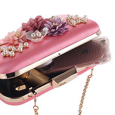 Las mujeres de poliéster Bolsa de noche All Seasons evento de boda/Partido Partido formal &Amp; Club de noche broche Flor de satén rectángulo LockBeige,Albaricoque albaricoque Blushing Pink