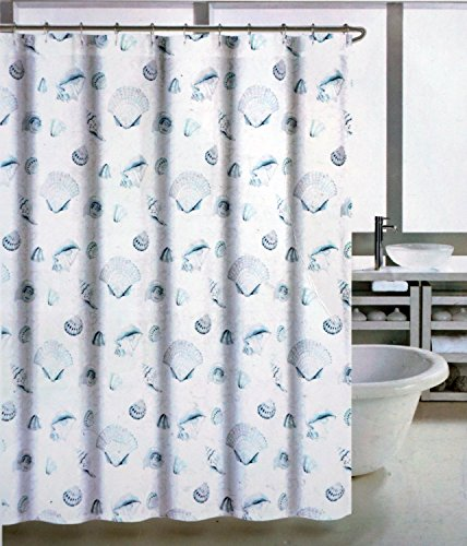 Coastal Collection Fabric Shower Curtain Blue and Beige Shells on White -- Watercolor Shell ()