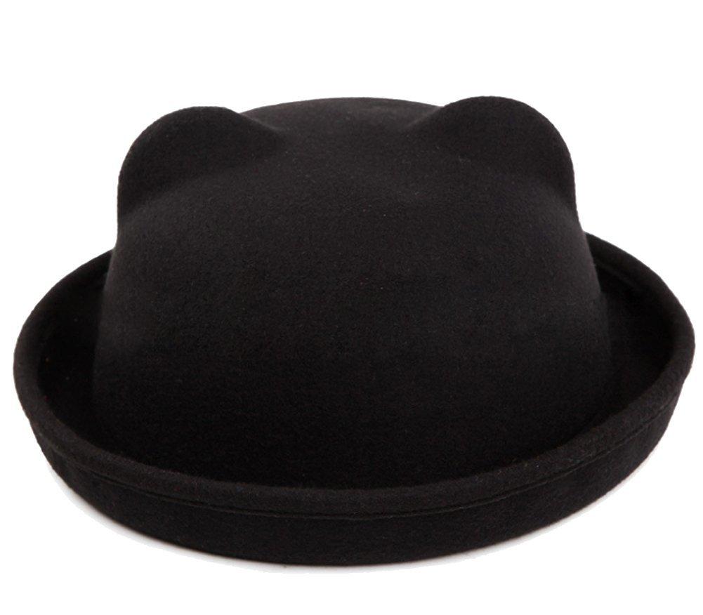 Butterme Donne della signora Girls Vintage orecchie simpatico gatto Trendy Bowler Derby Cap Hat (Blu) ZUMUii BUT00067L