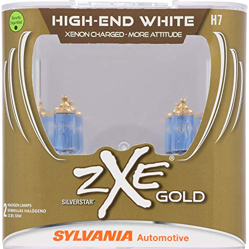 SYLVANIA - H7 (64210) SilverStar zXe GOLD High Performance Halogen Headlight Bulb - Headlight & Fog Light, Bright White Light Output, Best HID Alternative, Xenon Charged Technology (Contains 2 Bulbs)