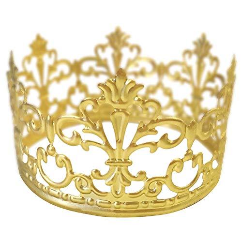 BESTONZON Gold Crown Cake Topper Queen Princess Themed Crown Cake Decoration Wedding Birthday Parties Supplies]()