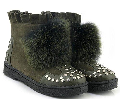 Booties Suede Platform Toe Green Faux Round Snow Chic Aisun Women's 8TqwRRFf