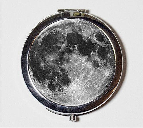 Full Moon Compact Mirror Celestial Outerspace Cosmic Make Up Pocket Mirror for Cosmetics by Fringe Pop